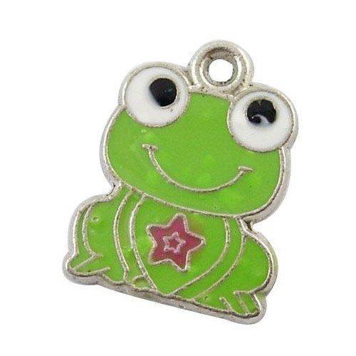Charm Frog Enamel - Pack of 10 x Green Enamel & Alloy 20mm Charms (FROG) - (HA08255) - Charming Beads