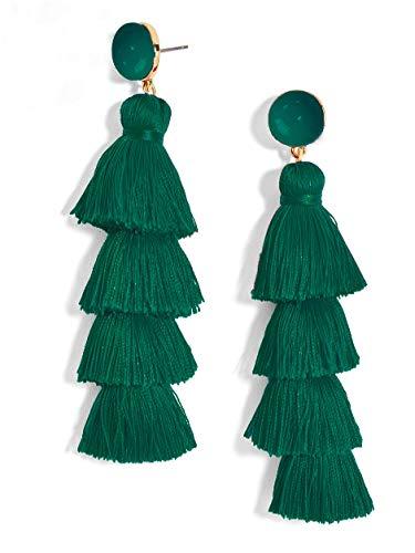 New Trend Beautiful Stud Green Tassel Earrings for Women Set, Cute Earrings for Graduation pom and Everyday wear (DarkGreen)