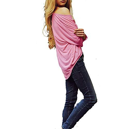 Mode Camicetta Donna Camicia Collo Lunga Primaverile Rosa Plus Lunghe Di Maniche Tops Autunno Marca A Irregolare Prodotto Vintage Monocromo Bolawoo Rotondo Casuale Elegante Manica Blusa Fashion qxg0HdwPd