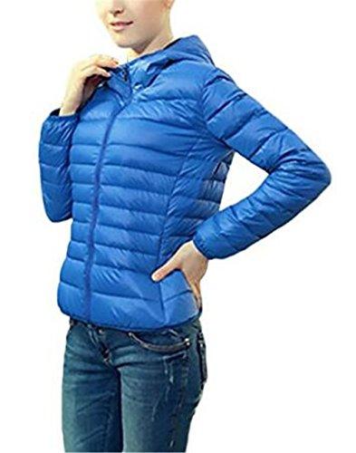 Abrigos Manga BESTHOO Basic Blue Color Chaquetas Chaquetas Jacket Clasicos Capucha Cremallera Outwear Mantener SÓLido Hoodie Corto Con Caliente con Mujer Larga 5T7xnTr