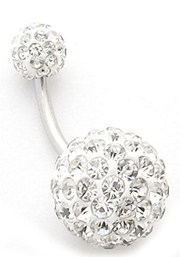 Thenice Big Crystal Ball 1.6mm 14g Navel Rings Belly Button Body Piercing