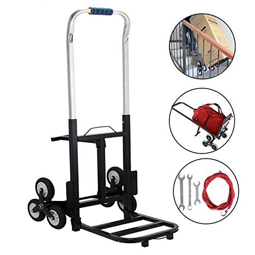 BestEquip 330 LBS Capacity Stair Climber Cart 30 Inch Folded Height Folding Stair Climbing Cart Three-Wheel Chassis Portable Stair Climber Hand Truck