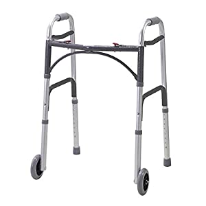 NRS Lightweight Height Adjustable Folding Walking Frame With Wheels (Eligible for VAT relief in the UK) 34