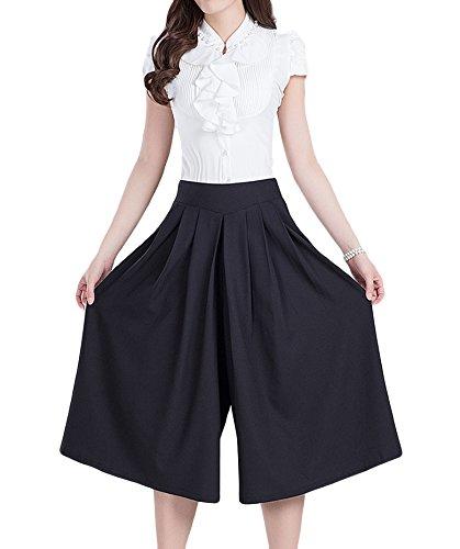 Plumsika Womens Elegant Chiffon Wide Leg Pants Chiffon Culottes Plus Size