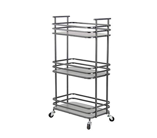Office Home Furniture Premium Industrial Wood and Metal 3-Tiered Shelf Cart, 10 W x 29 H, Gray