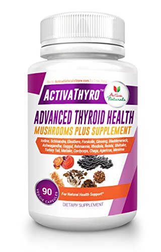 Thyroid Supplement - 90 Veg. Caps with Iodine, Ashwagandha, Forskolin, Holistic Mushrooms, Herbs & Nutritional Whole Foods Supplements