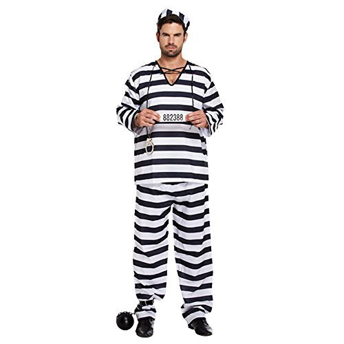 Prisoner Striped Fancy Dress Costume (Black/White)]()