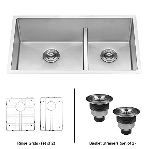 Ruvati 33 Inch Low Divide Undermount Tight Radius 60/40 Double Bowl 16