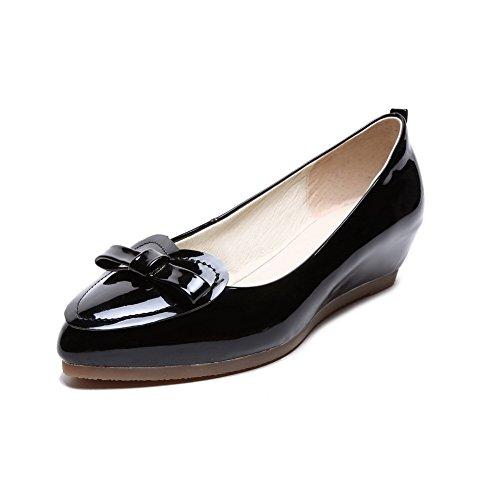 Balamasa Filles Pull-on Solide En Cuir Verni Pompes-chaussures Noir
