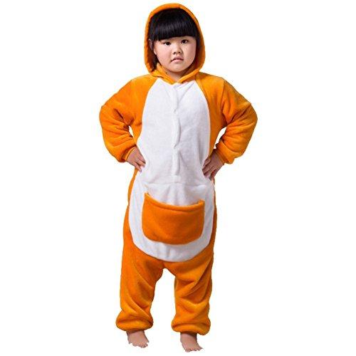 [ABING Halloween Pajamas Homewear OnePiece Onesie Cosplay Costumes Kigurumi Animal Outfit Loungewear,Kangaroo Chidren Size 125 -for] (Childrens Kangaroo Costume)