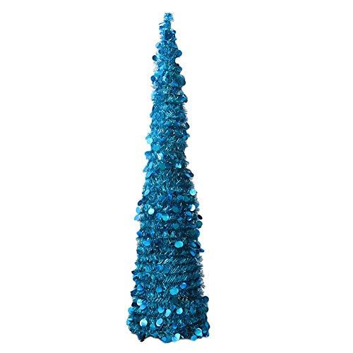 Árbol de Navidad plegable y ajustable, decoración para el hogar, árbol de Navidad, Azul