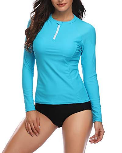 (Daci Women's Two Piece Long Sleeve Rash Guard UV UPF 50+ Sun Protection Printed Bathing Suits Zipper Surfing Swimsuit (Large, Blue1))