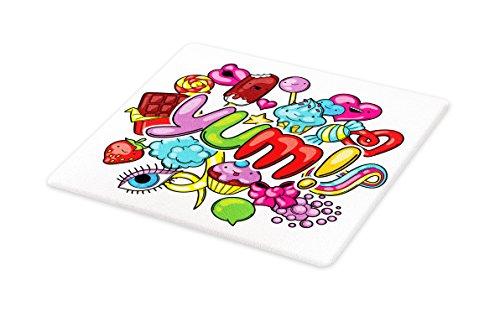 Lunarable Kawaii Cutting Board, Yummy Sweet Food Arrangement