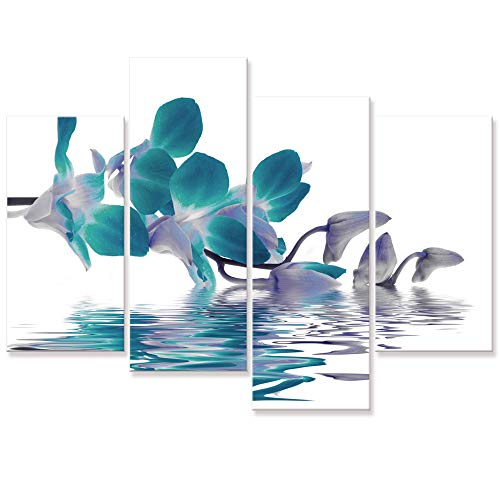 (Visual Art Decor Large Beautiful Teal Orchid Flowers Wall Art Canvas Prints Gallery Wrapped Floral Painting Artwork Ready to Hang for Home Living Room Bedroom Wall Decoration)