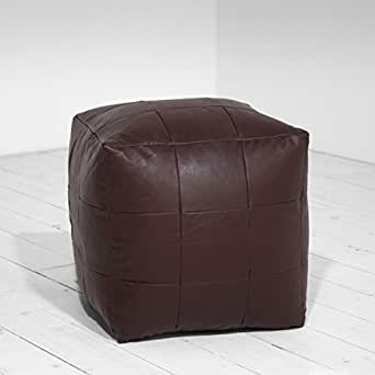 Faux Leather Patchwork Chocolate Foot Stool Rest Pouffe Cube Bean Bag Filled by Creative Living