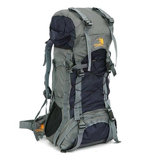 Sac à dos d'exploration en plein air imperméable durable 60L Sac d'alpinisme de grande capacité Sac à dos Trekking multifonctionnel unisexe