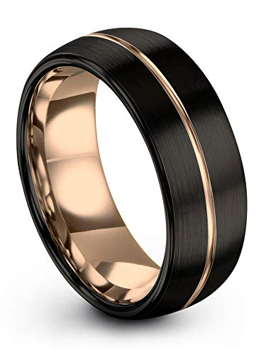 Midnight Rose Collection Tungsten Wedding Band Ring 8mm for Men Women 18k Rose Gold Plated Dome Center Line Black Brushed Polished Size 10