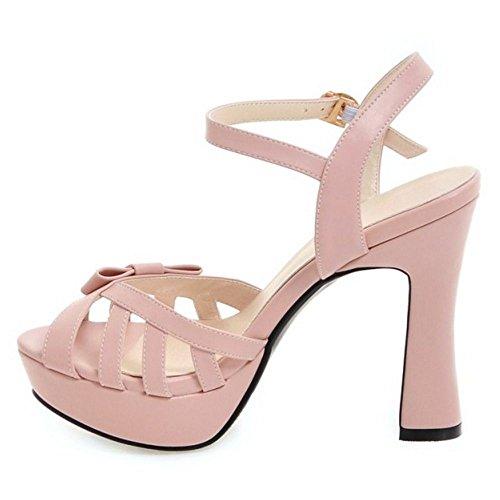 RAZAMAZA Mujer Moda Tacon Alto Correa de tobillo Sandalias Dulce Bowknot Peep Toe Zapatos Rosado