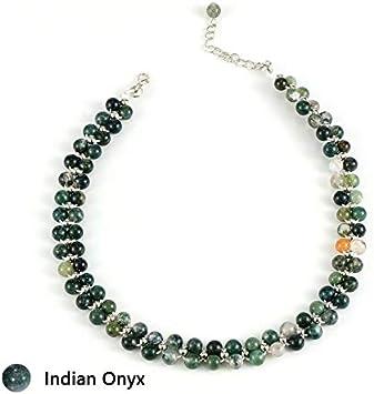 NO LOGO YSSP- Capa Manera de Las Mujeres de Piedra Natural Gargantilla Doble Declaración Mejores Perlas de Cristal de UVA Onyx Collares del Collar de la Cadena del Partido (Color : India Onyx)