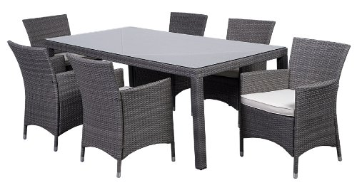 Amazon.com : Atlantic 7 Piece Grand New Liberty Deluxe Rectangular Wicker Dining  Set With Grey Cushions : Outdoor And Patio Furniture Sets : Garden U0026 ...