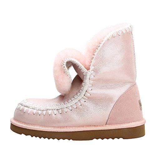 Zapatos Suela ca Rosa Botas para D5075 a Antideslizante Media Piel Nieve Camuflaje Mujer de de Lana Oveja y con Shenduo Invierno Interno de gATgd