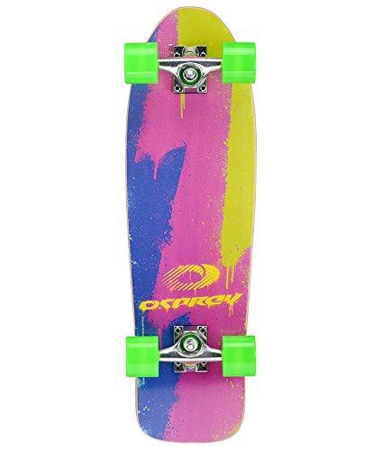 Osprey Retro Multi Colored Single Kick Mini Cruiser Skateboard, 28-Inch