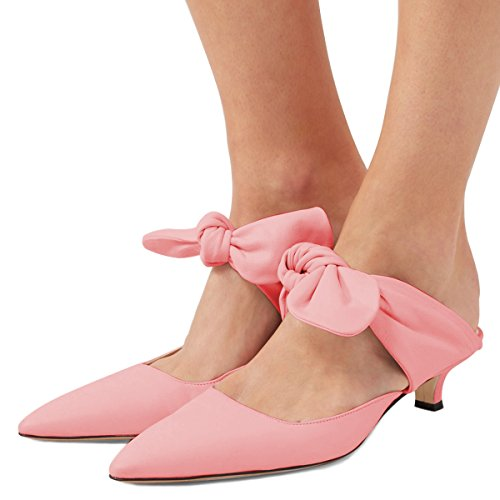 Shoes Size 15 Kitten Slip Pumps US Women Closed On Cofmort Cute Sandals Pink Mules Low Toe FSJ 4 Heels OwHAS6wq