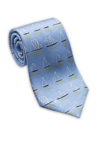 Josh Bach Mens Sailboat / Boating Silk Necktie Blue, Made in USA
