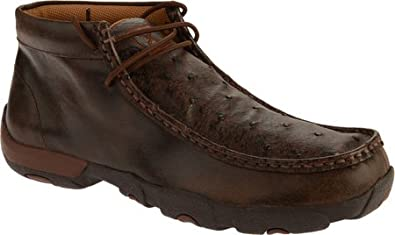 Twisted X Mens Leather Lace-Up Rubber Sole Moc Toe Driving Moccasins Copper