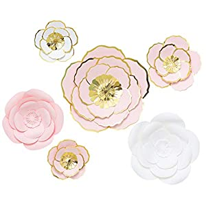 MEJOY Paper Flower Decorations, 6 Piece White Pink and Blush 3D Paper Flower Set, Large Paper Flowers for Nursery Wall Decor,Wedding, Baby Shower Backdrop, Archway, Home Decor 69