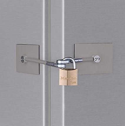 Stainless Steel Refrigerator Door Lock with Padlock & Stainless Steel Refrigerator Door Lock with Padlock - Secure ...