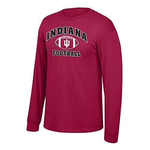 Elite Fan Shop NCAA Men's Indiana Hoosiers Football Long Sleeve T-shirt Team Color Indiana Hoosiers Red Medium