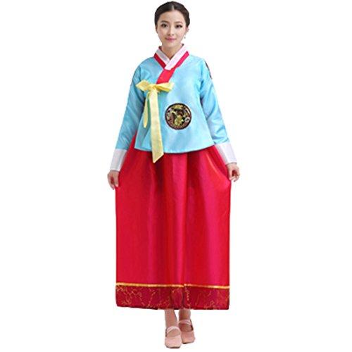Ez-sofei Women's Korean Traditional Costume Hanbok M Blue&Red