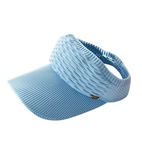 Adjustable Coil Visor Golf&Tennis Head Visors for Women Ladies Sun Visor Hat Large Wide Brim Women's Golf Visor (Light Blue)