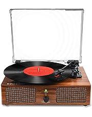 Vinyl platenspeler Bluetooth draaitafel met ingebouwde luidsprekers en USB riemaangedreven Vintage platenspeler platenspeler 3 snelheden voor entertainment en huisdecoratie