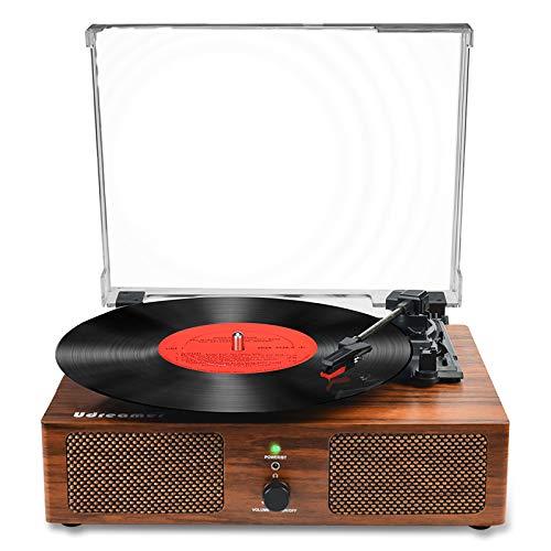 Vinyl platenspeler Bluetooth draaitafel met ingebouwde luidsprekers en USB riemaangedreven Vintage platenspeler…
