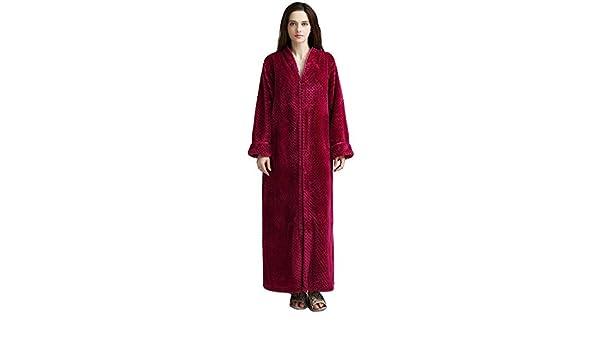 HGDR Vestidos De Franela De Las Mujeres Batas De Baño Damas Sueltas Zip Up Bata De Baño Albornoz Cálido Traje De Baño Suave Ropa De Dormir 6,Red-XL: ...