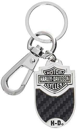 Harley-Davidson Key Chain Bar & Shield Carbon Fiber Vinyl Inlay Key Fob