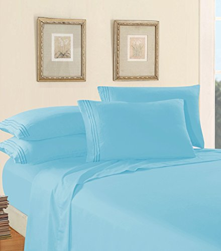Luxury Bed Sheet Set on Amazon! Elegant Comfort Three-Line Design 1500 Thread Count Egyptian Quality Wrinkle and Fade Resistant 4-Piece Bed Sheet set, Deep Pocket, California King, Aqua Blue