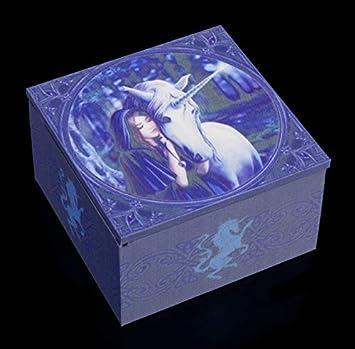 Unbekannt Fantasy Spiegel-Schatulle con Elfo y Unicornio - Solace Caja de Joyería de Madera y Tela, Motivo Von Anne Stokes: Amazon.es: Hogar