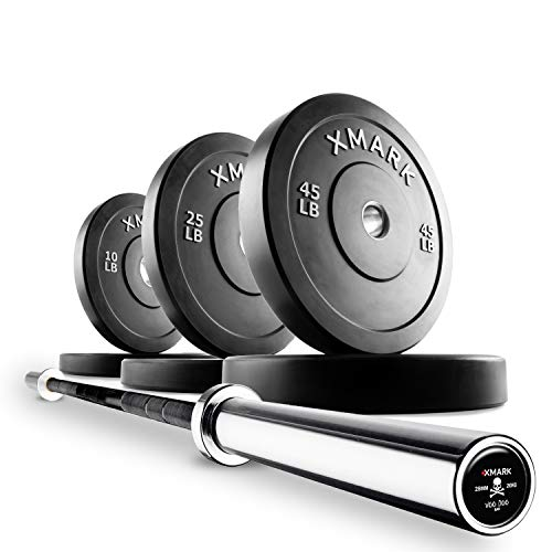 XMark Deadlift Voodoo Commercial Olympic Bar and 160 lb Slim Profile, Low Bounce Premium Olympic Bumper Plate Set, XM-3385