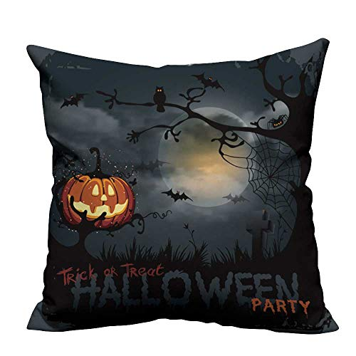 YouXianHome Household Pillowcase Halloween Night Background with Pumpkin and Full Moon. Perfect for Travel(Double-Sided Printing) 26x26 inch ()