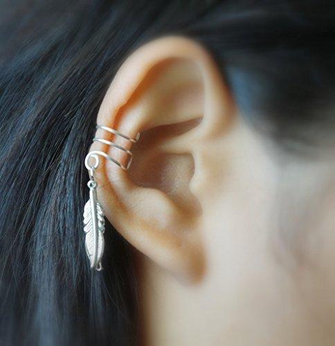7)Double Little Bird Silver Feather Ear (Double Ear Cuff)