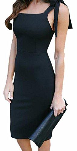 Party Jaycargogo Midi Bandage Dresses Sleeveless Evening Black Womens Sexy Bodycon Pqqwn6CHSx