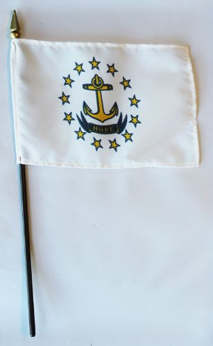 Rhode Island - 4 in x 6 in State Stick Flag