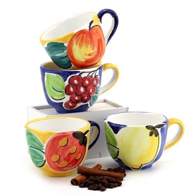 FRUTTETO: Set of four Cups as shown: Grape, Lemon. Apple and Strawberry design.