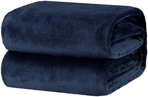 Bedsure Flannel Fleece Luxury Blanket Navy Queen Size Lightweight Cozy Plush Microfiber Solid Blanket