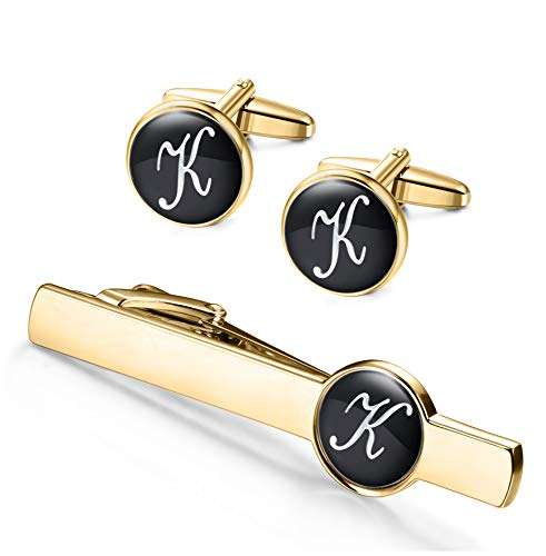 ORAZIO Engraved Tie Clip and Initial Cufflinks for Men Women Alphabet Letter A-W Cufflinks Tie Bar Set for Business Wedding Gold Tone (K1)