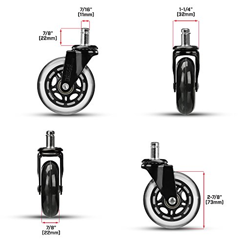 rollerblade office chair caster wheels replacement set of 5 safe smooth rolling over all. Black Bedroom Furniture Sets. Home Design Ideas