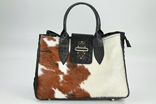 BELLI ital. Echt Leder Handtasche Henkeltasche Echt Fell Kuh schwarz Kroko Prägung - 36x25x18 cm (B x H x T)